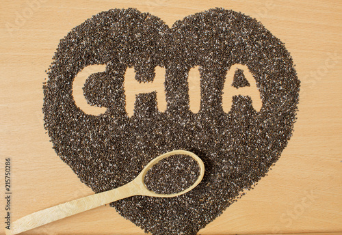 Valokuva  Healthy Chia seeds in the form of a heart