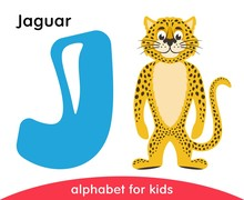 Blue Letter J And Yellow Jaguar. English Alphabet With Animals. Cartoon Characters Isolated On White Background. Flat Design. Zoo Theme. Colorful Vector Illustration For Kids.