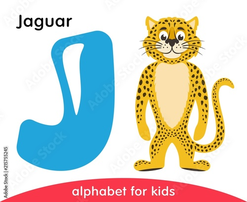 Blue Letter J And Yellow Jaguar English Alphabet With Animals
