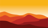 Mountain Desert Landscape Illustration Red Hot Weather