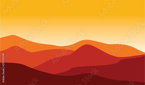 Fototapeta Mountain Desert Landscape Illustration Red Hot Weather obraz