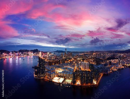 Fotobehang Aziatische Plekken Hong Kong Cityscape from aerial view