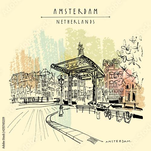 Photo  Amsterdam, Holland, Netherlands - vintage hand drawn postcard