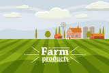 Rural cute landscape with farm. Cartoon style, vector, isolated