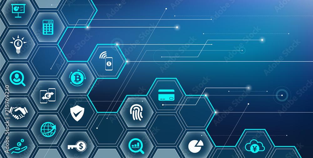 Fototapeta fintech concept: innovative financial services / new technology in finance – vector illustration