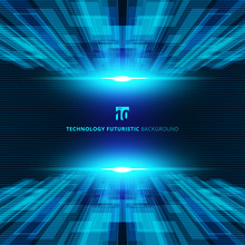 Abstract Blue Virtual Technology Concept Futuristic Digital Perspective Background With Space For Your Text.
