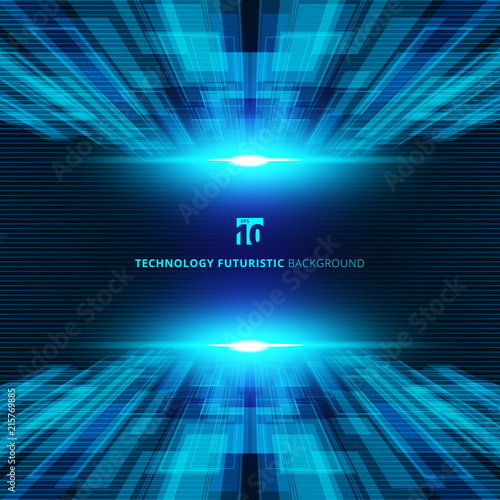 Slika na platnu Abstract blue virtual technology concept futuristic digital perspective background with space for your text