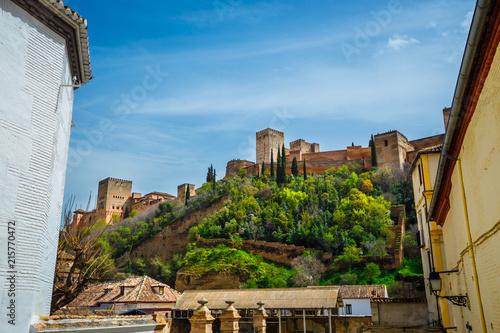 Foto  view of arabic fortress of Alhambra in Granada, Spain