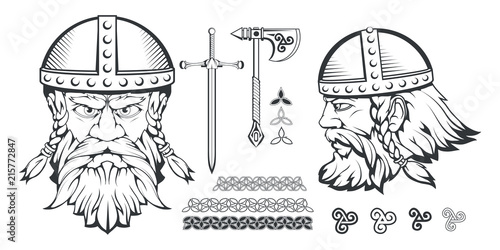 Photo  Hand drawn of a viking in a helmet