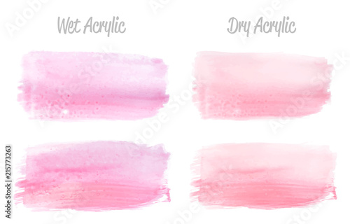 Fototapety, obrazy: Vector pink paint smear stroke stain set. Abstract pink glittering textured art illustration. Acrylic Texture Paint Stain Illustration. Hand drawn brush strokes vector elements. Acrilyc strokes.