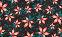 Exotic Floral Wallpaper Tile In Red Blue Brown