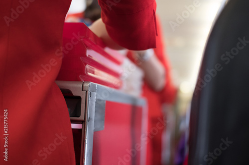 flight attendant serving food to passenger on aircraft Canvas Print