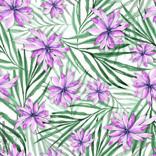 wzor-egzotycznych-lisci-i-kwiatow-akwarela-ilustracja-na-bialym-tle