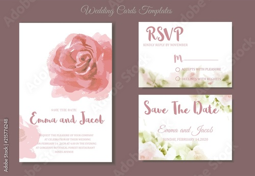 Fototapeta Pink Roses Watercolour Style Frame Print Vintage Style Wedding Invitation Pink Roses Watercolor Hand Drawn Save The Date Card