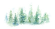 Leinwanddruck Bild - Green landscape of foggy forest, winter hill. Wild nature, frozen, misty, taiga. watercolor background