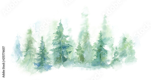 Poster Blanc Green landscape of foggy forest, winter hill. Wild nature, frozen, misty, taiga. watercolor background