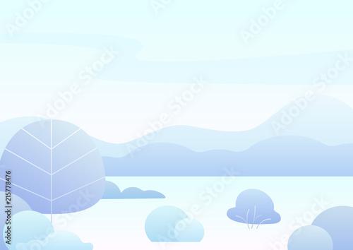 Tuinposter Lichtblauw Fantasy simple cartoon winter landscape, modern gradient nature vector illustration.