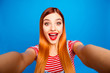 canvas print picture - Hey how are you there! Close up studio photo portrait of pretty funny funky cute surprised shocked with open mouth lady taking making selfie isolated bright shinny vivid background
