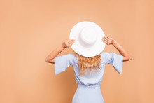 Faceless Person People Accessories Concept. Rear Behind View Studio Photo Portrait Of Attractive Lovely Sweet Cute Lady Looking Into Distance Far Isolated On Bright Peachy Vivid Background Copy Space
