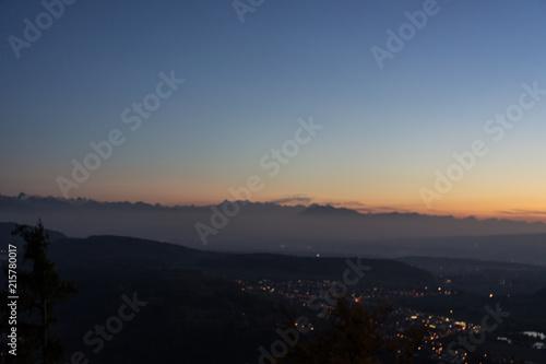 Staande foto Zwart sunset landscape panorama with orange sky