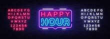 Happy Hour Neon Sign Vector De...