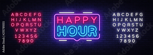 Obraz na plátně Happy Hour neon sign vector design template