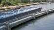 cargo ship leaving canal lock