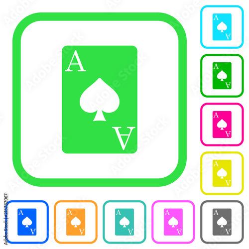 Ace of spades card vivid colored flat icons плакат
