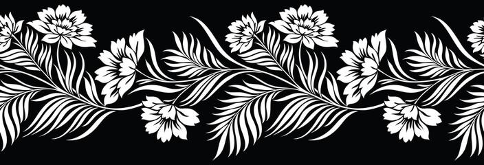 Bešavni crno-bijeli cvjetni obrub