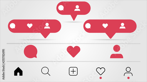 Set of social media icons inspired by Instagram: like