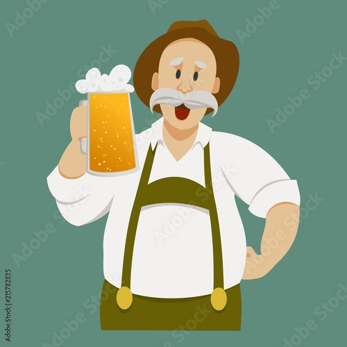 Fotografia man in national clothes with a glass of beer
