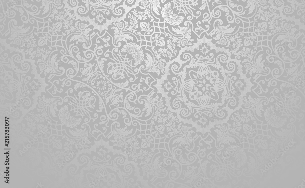 Fototapety, obrazy: Elegant floral vector background. Silver toned vintage decorative texture.