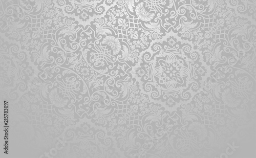 Elegant floral vector background. Silver toned vintage decorative texture. - 215783097