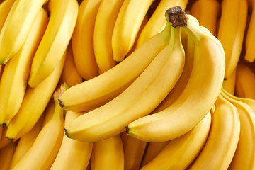 Bunch of fresh bananas in the organic food market