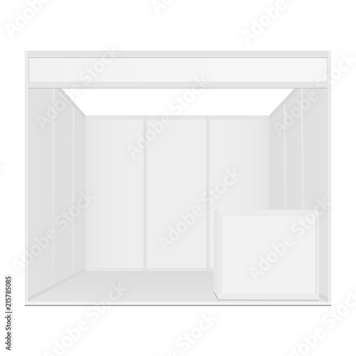 Exhibition booth mockup with table - front view  Vector illustraion