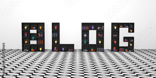 Abstract banner with shelves of cubes that write the word blog. with colorful lightbulbs, books and decoration. 3d render