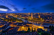 Leinwanddruck Bild - Panoramic aerial view of Verona, Italy at blue hour, after summer sunset