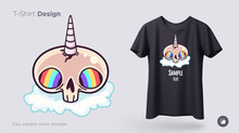 Skull Unicorn With Rainbow Eyes T-shirt Design. Print For Clothes, Posters Or Souvenirs. Vector