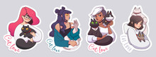 Stickers With Cute Girls And Their Cats. Vector