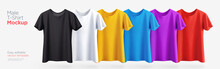 Men's T-shirt Realistic Mockup In Different Colors. Vector