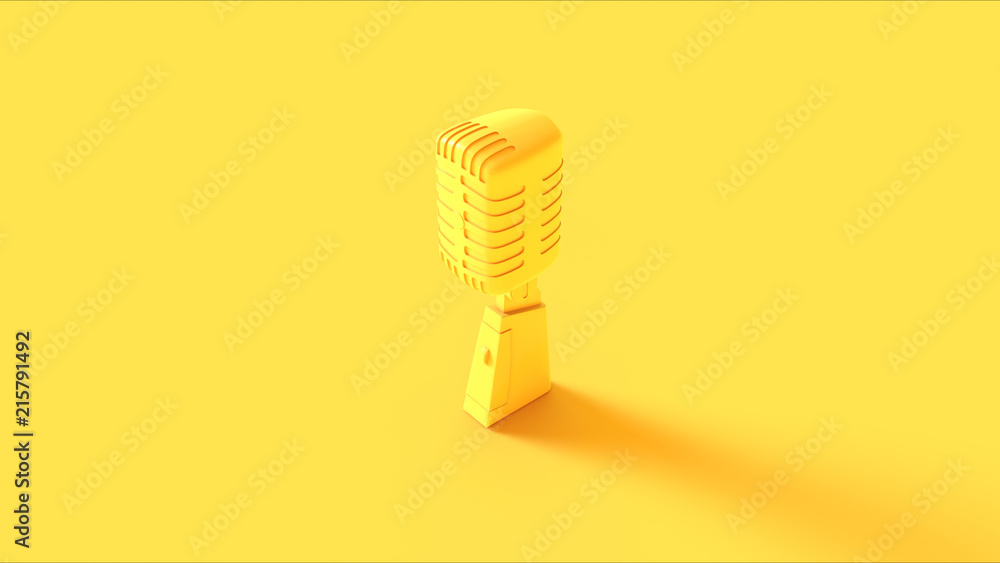 Fototapety, obrazy: Yellow Vintage Microphone 3d illustration