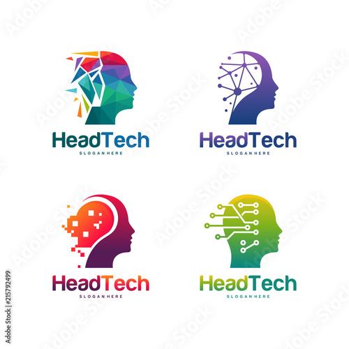set of head tech logo pixel head logo concept vector robotic technology logo template designs vector illustration buy this stock vector and explore similar vectors at adobe stock adobe stock set of head tech logo pixel head logo