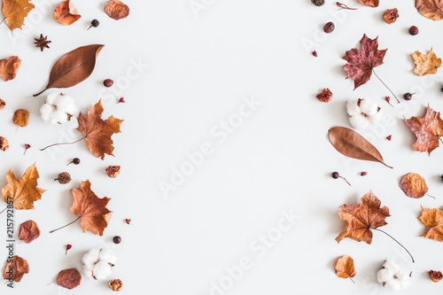 Plakaty brązowe  autumn-composition-frame-made-of-cotton-flowers-dried-maple-leaves-on-pastel-gray-background-autumn-fall-concept-flat-lay-top-view-copy-space