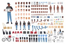 African American Delivery Boy Constructor. Collection Of Male Character Body Parts In Different Postures, Uniform Isolated On White Background. Front, Side And Back Views. Cartoon Vector Illustration.