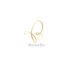 Gold Butterfly Signature Simple Design
