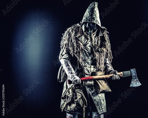 Obraz na plátne Post apocalyptic survivor, radioactive zone stalker, crazy serial killer or mani