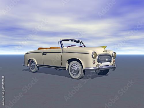 Poster Vintage voitures Oldtimer Cabriolet mit rotem Leder
