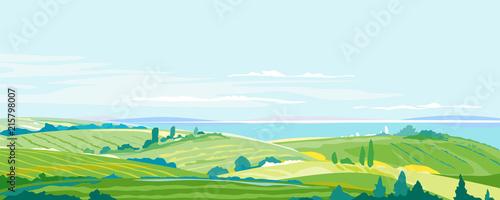 Farming Hills Summer Landscape Background