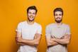 canvas print picture - Portrait of a two happy young men best friends