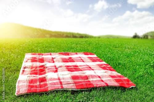 Obraz Summer photo of blanket on green grass and free space for your decoration.  - fototapety do salonu